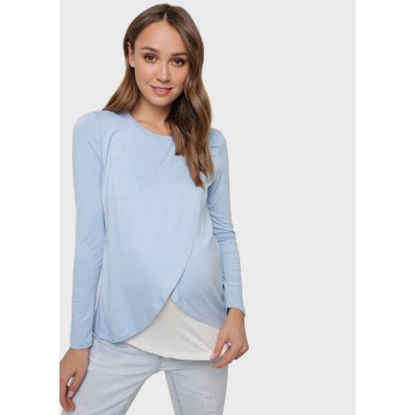 Лонгслив для беременных и кормящих Ольга голубой