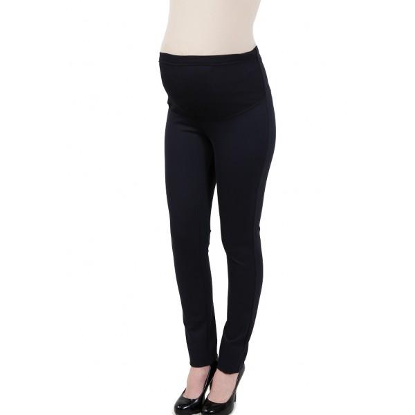 Утепленные брюки для беременных зауженные на флисе темно-синие