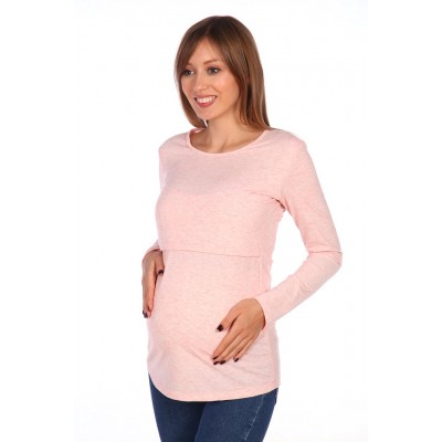 Блуза для беременных и кормящих мам розовый меланж