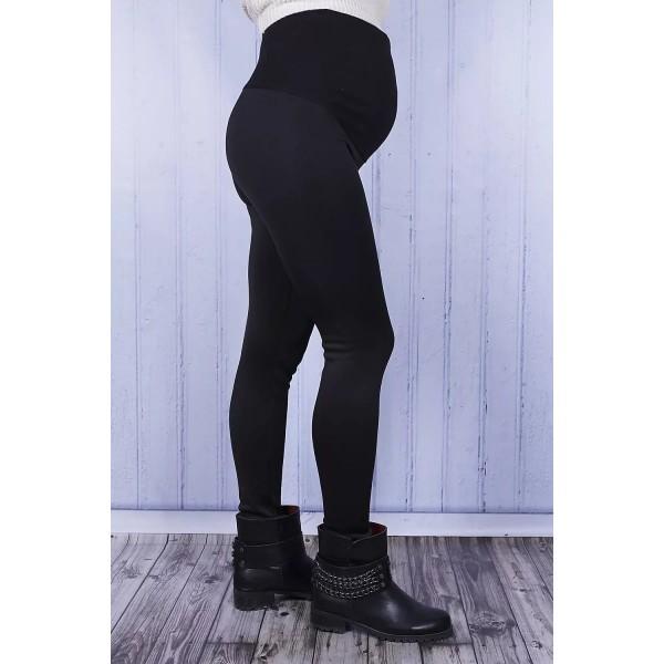 Лосины для беременных на меху черные