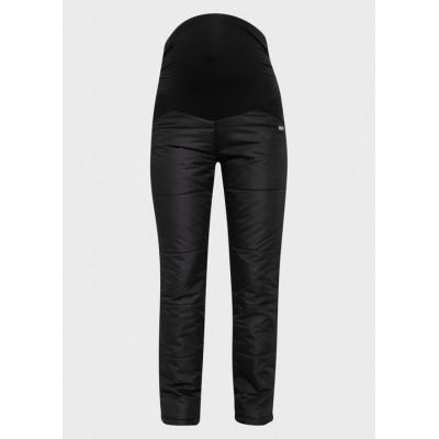 Балоневые брюки на синтепоне для беременных, черные