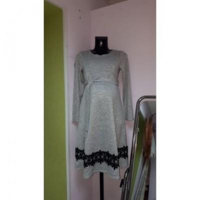 Платье серое плотный  трикотаж для берем/кормл.