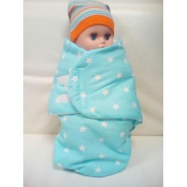Кокон флис/бязь голубой, для новорожденных