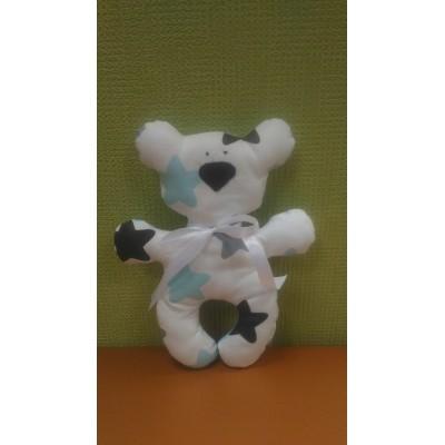 """Подушка-игрушка для новорожденных """"Мишка"""" Бело-голубой со звездами"""