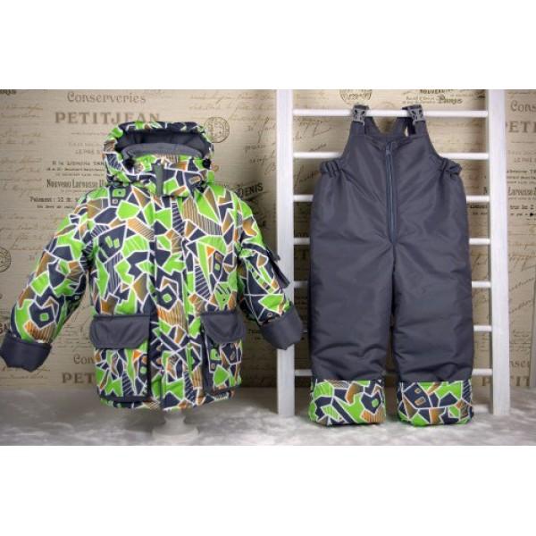"""Комплект зимний """"Я-267"""" серый-зеленый (куртка+п/комбинезон)"""