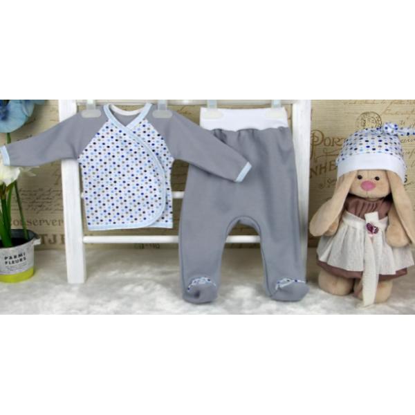 """Комплект для новорожденных """"3 предмета"""" Серый для мальчика"""