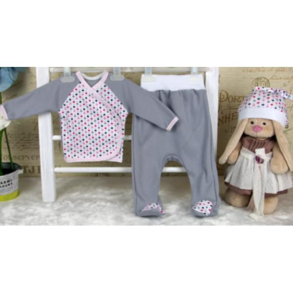 """Комплект для новорожденных """"3 предмета"""" Серый для девочек"""