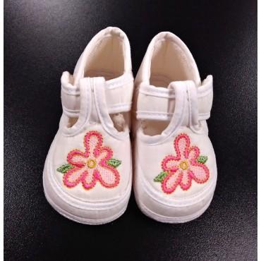 Тапочки детские Молочные с цветком
