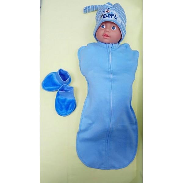 Пеленка-кокон Голубой для новорожденного