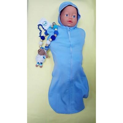 Пеленка-кокон Голубой c капюшоном для новорожденного