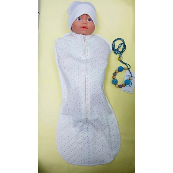 Пеленка-кокон Молочный со звездами для новорожденного