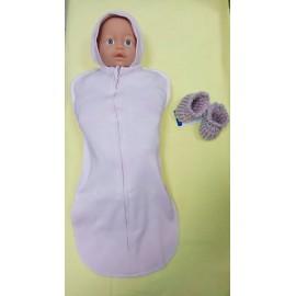 Пеленка-кокон Розовый с капюшоном для новорожденного