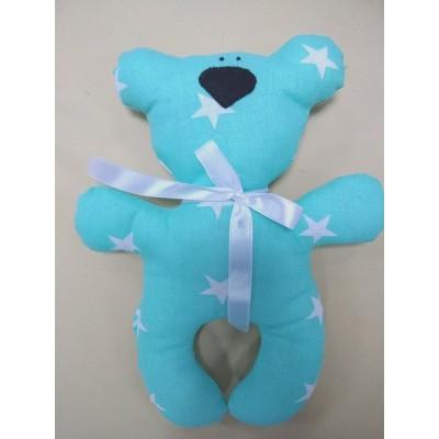 """Подушка-игрушка для новорожденных """"Мишка"""" Мятный со звездами"""
