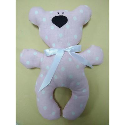"""Подушка-игрушка для новорожденных """"Мишка"""" Розовый в горох"""
