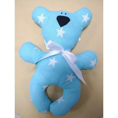 """Подушка-игрушка для новорожденных """"Мишка"""" Голубой со звездами"""