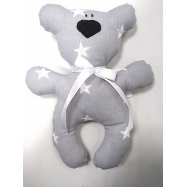 """Подушка-игрушка для новорожденных """"Мишка"""" Серый со звездами"""