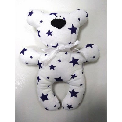 """Подушка-игрушка для новорожденных """"Мишка"""" Белый со звездами"""