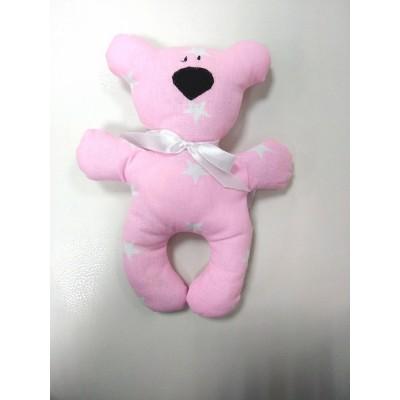 """Подушка-игрушка для новорожденных """"Мишка"""" Розовый со звездами"""