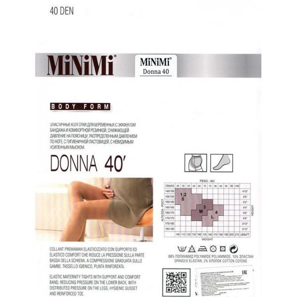 """Колготки """"MiNiMi"""" 40 den Donna Nero для беременных"""