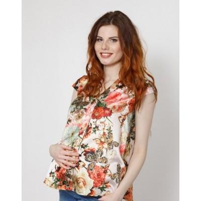 """Блуза""""039"""" Беж/принт для беременных"""