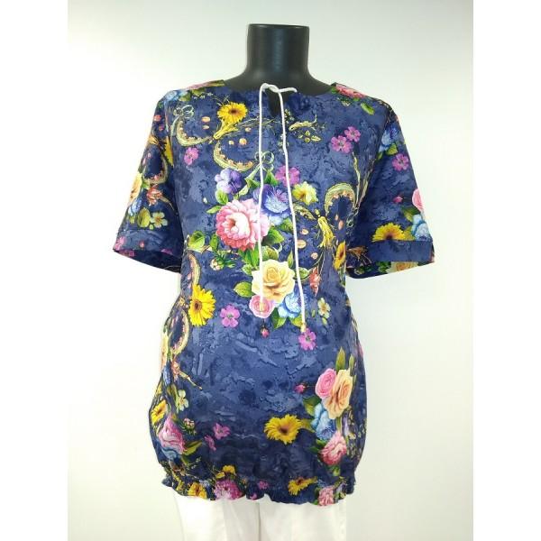 """Блуза """"Трейси"""" т.синяя для беременных"""
