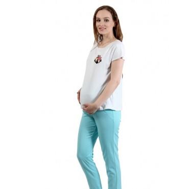 "Брюки ""844-х/б"" для беременных  Бирюза"