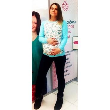 """Свитшот """"Мама"""" Бирюза/цветочки для беременных"""