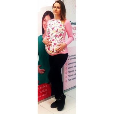 """Свитшот """"Мама"""" Розовый/цветочки для беременных"""