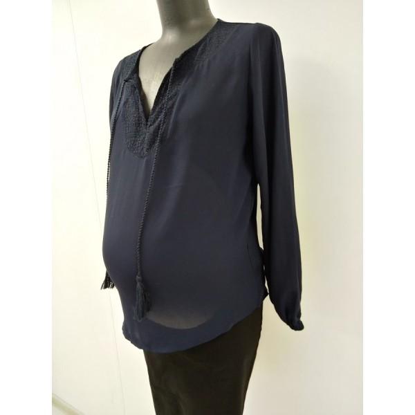 "Блуза ""ЛЗ-001"" Т.синяя для беременных"