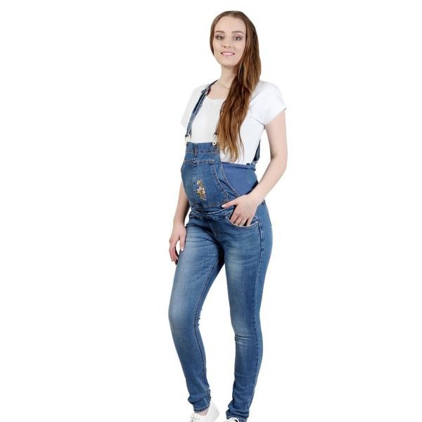 """Комбинезон джинс """"2090"""" Св.синие, для беременных"""