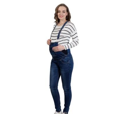 """Комбинезон джинс """"239"""" Т.синие, для беременных"""