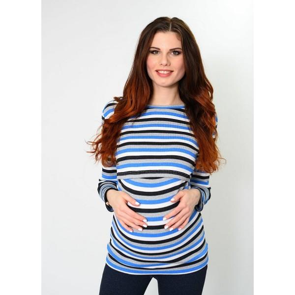 """Лонгслив """"303"""" Голуб/полоса для беременных и кормящих"""