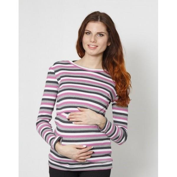 """Лонгслив """"303"""" Сирен/полоса для беременных и кормящих"""