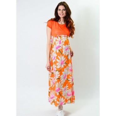 """Платье """"526/2"""" Оранж/принт для берем/кормл."""