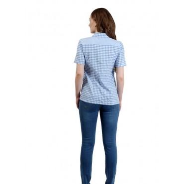 """Рубашка """"4025"""" Голуб/клетка для беременных"""