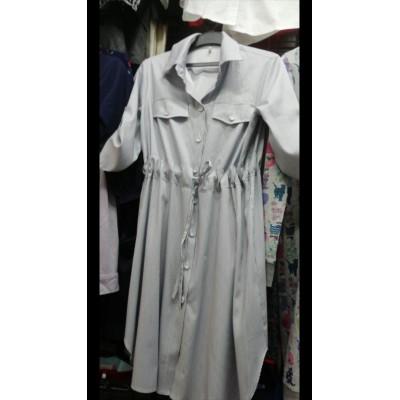Платье для беременных полоска серая
