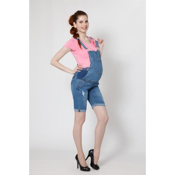 Комбинезон для беременных джинсовый с шортами 7