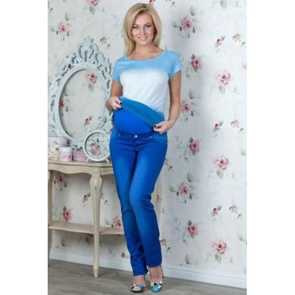Летние джинсы для беременных голубые