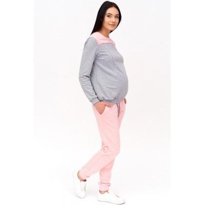Толстовка для беременных серая с розовым