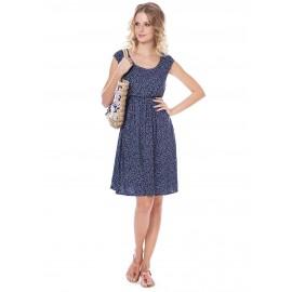 """Платье """"Павлина"""" синее с цветочками для беременных и кормящих"""