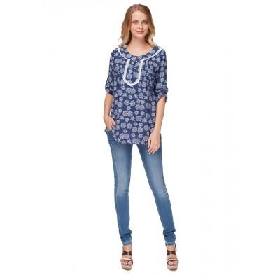 """Блуза """"Шарм"""" т.синяя с цветами для беременных и кормящих"""