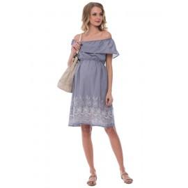 """Платье """"Анастасия"""" голубое в клеточку для беременных и кормящих"""