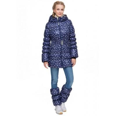 """Куртка зимн. 2в1 """"Мальта"""" синяя с сердечками для беременных"""