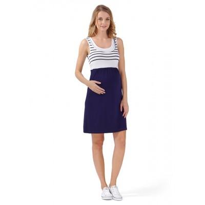 "Платье ""Триколор"" для берем/корм., т.синий/белый"