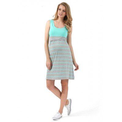 """Платье """"Триколор"""" для берем/корм., меланж/ментол/полоса"""