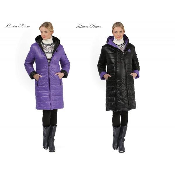 Куртка 2в1 Laura Bruno Черно-сиреневая двусторонняя для беременных