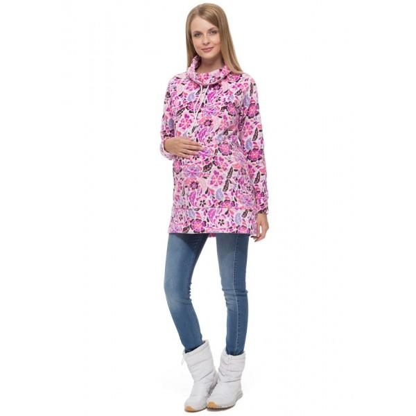 """Толстовка """"Эмберли"""" лиловые цветы для беременных и кормящих"""
