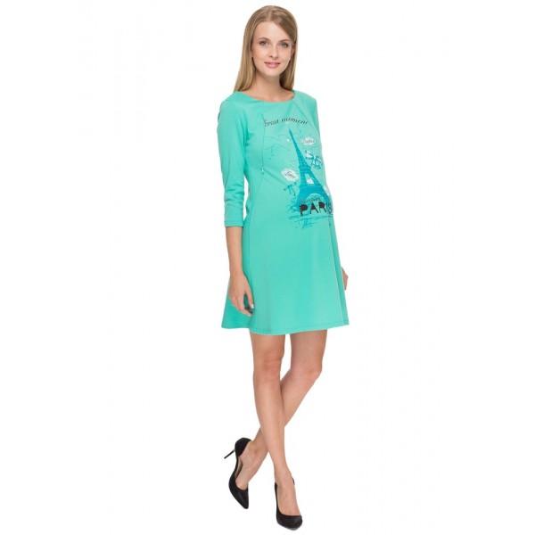 """Платье """"Лесли"""" ментоловое для беременных и кормящих"""