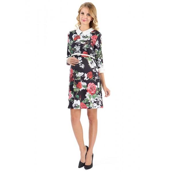 """Платье """"Ариэнна"""" черные цветы для беременных"""