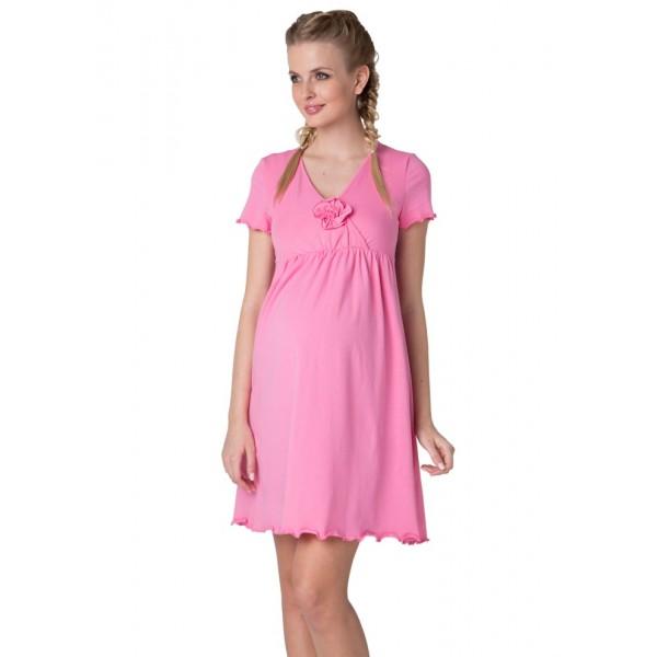 """Ночная сорочка """"Флорида"""" розовая для беременных и кормящих"""